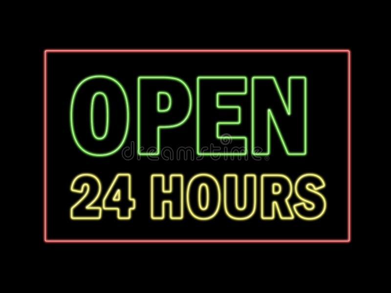 Open 24 uren in neon royalty-vrije illustratie