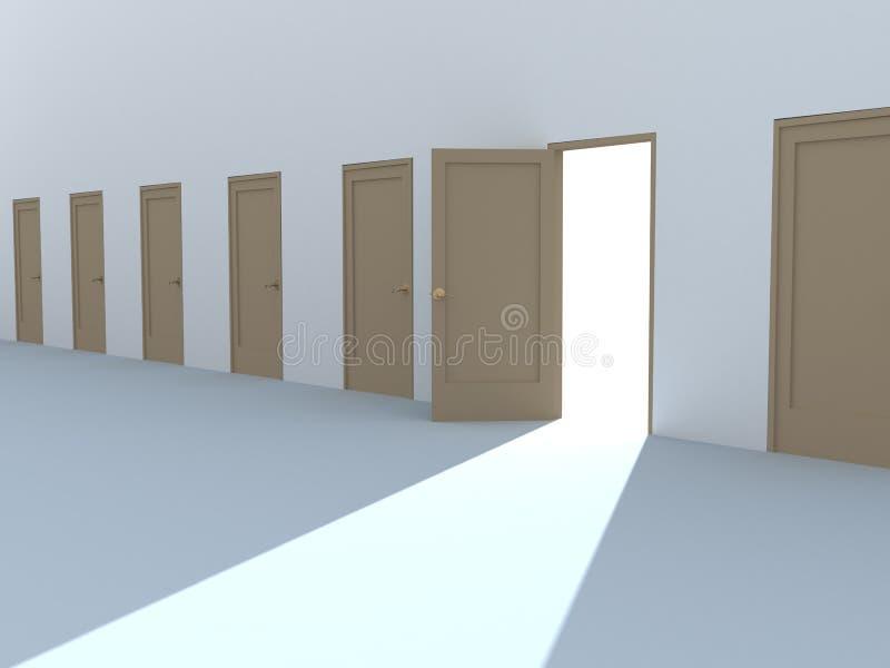 Open 3d Door In A Row Of The Closed Doors Stock Photography