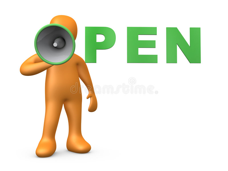 Open. Computer generated 3d image - Open vector illustration