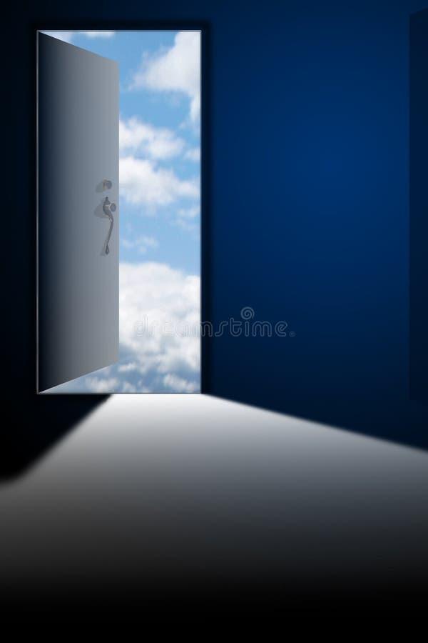 Open. Door with graphic clouds