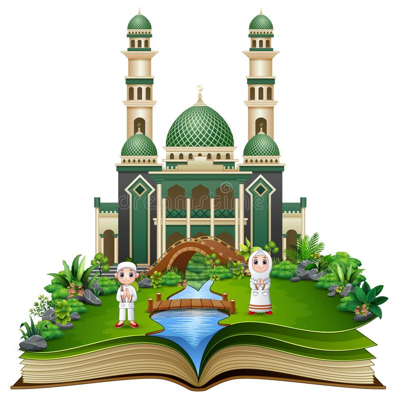 Free Open A Book With Group Of Muslim People Shaking Hands In Front Of A Mosque Stock Images - 120519134