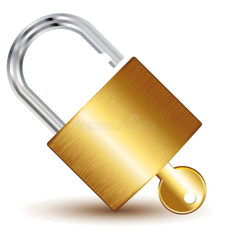Open adlock and keys vector illustration