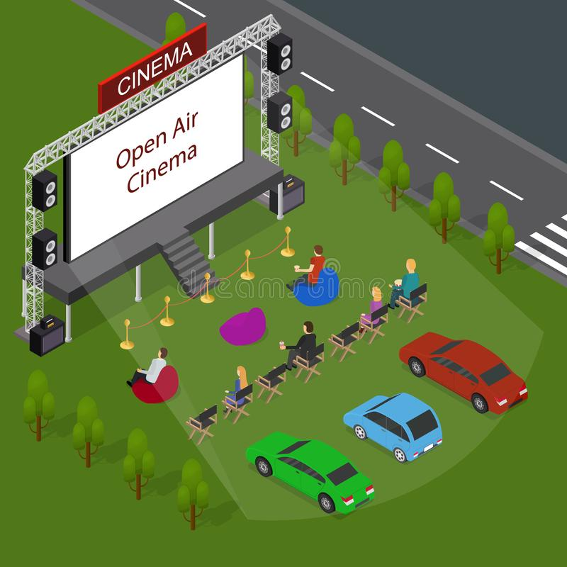 Open Air Cinema Concept 3d Isometric View. Vector. Open Air Cinema Concept 3d Isometric View Include of People, Car Outdoor Summer Night Leisure. Vector vector illustration
