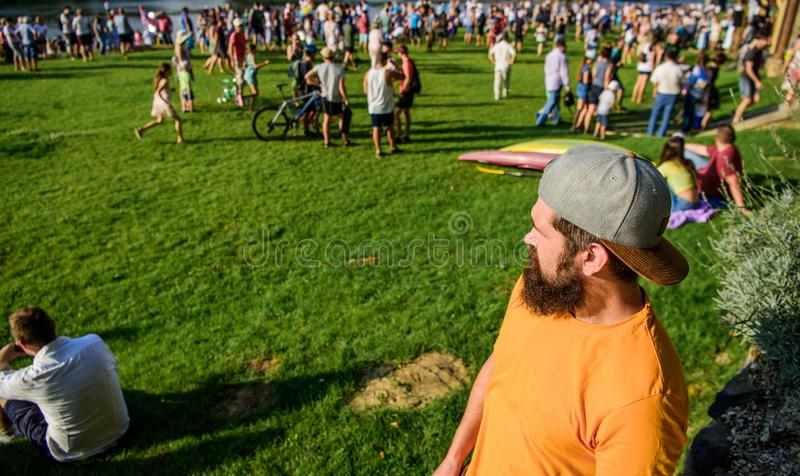 Open air concert. City day. Music festival. Book ticket now. Entertainment concept. Visit summer festival. Guy celebrate. Holiday or festival. Summer fest. Man stock image