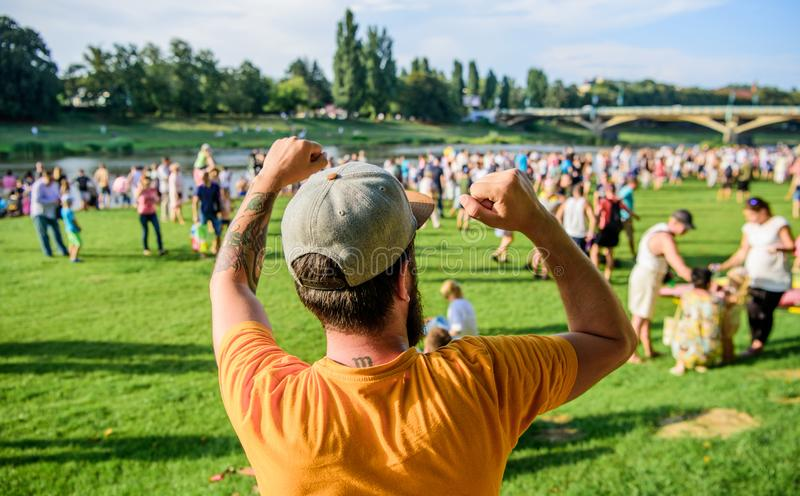 Open air concert. City day. Music festival. Entertainment concept. Visit summer festival. Guy celebrate holiday or. Festival. Summer fest. Man bearded hipster royalty free stock photos