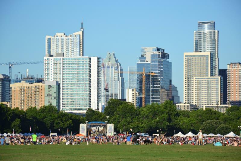 Open-air concert in park, downtown Austin, Texas stock photos