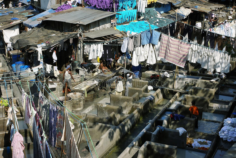The open air laundry in Mumbai royalty free stock photos