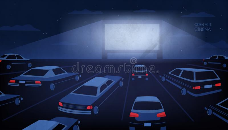 Open air, outdoor or drive-in cinema theater at night. Large movie screen glowing in darkness surrounded by cars against stock illustration