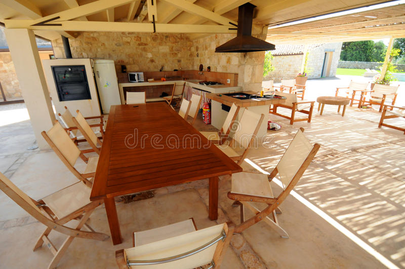 Download Open air outdoor kitchen stock image. Image of chairs - 10343061