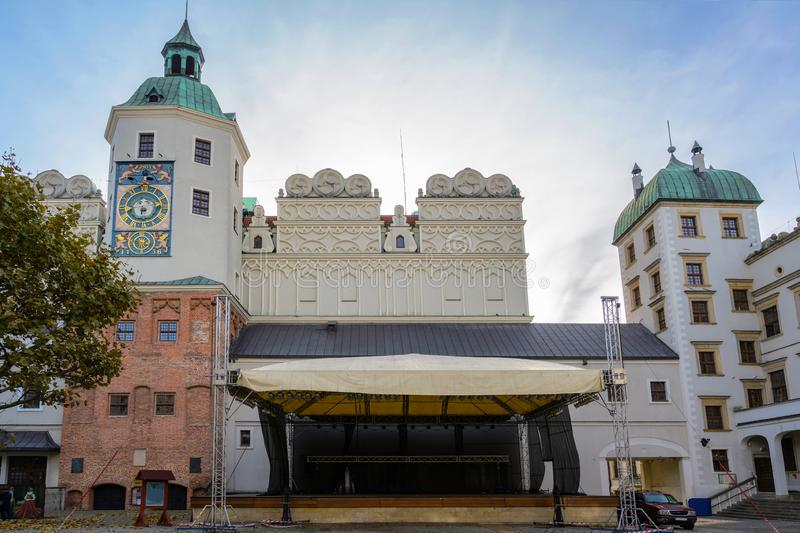 Open air stage in the courtyard of the Ducal Castle in Szczecin, Poland, former seat of the dukes of Pomerania-Stettin, today. Often used for cultural events royalty free stock images