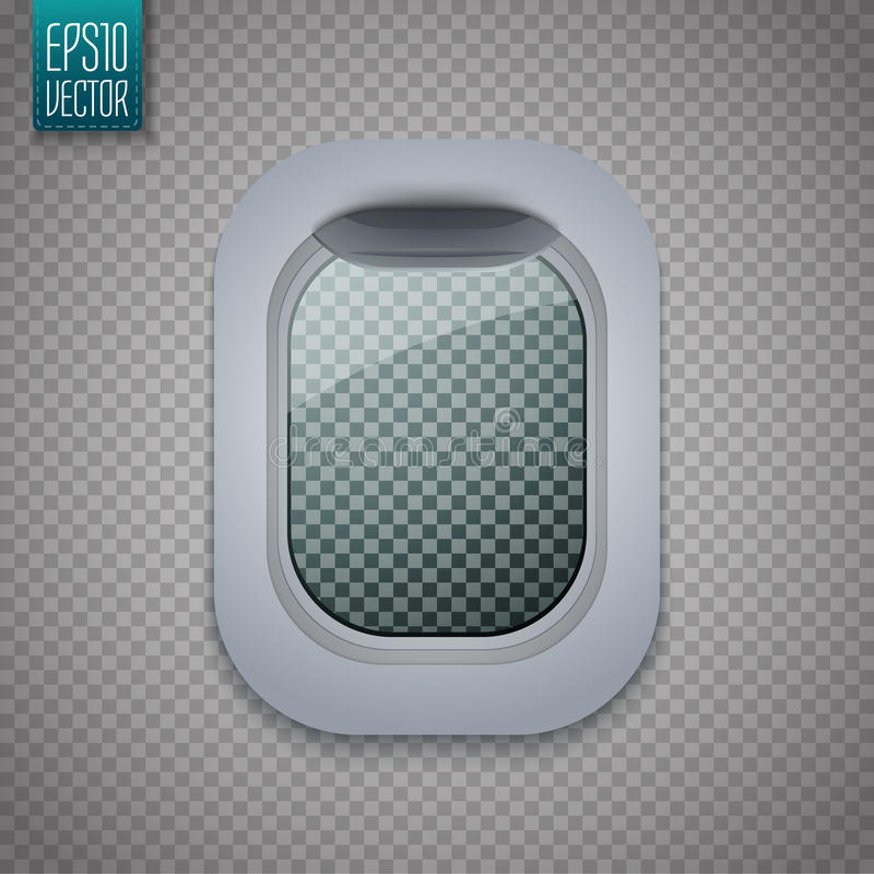 Open Aircraft window. Plane porthole on transparent background. Vector vector illustration