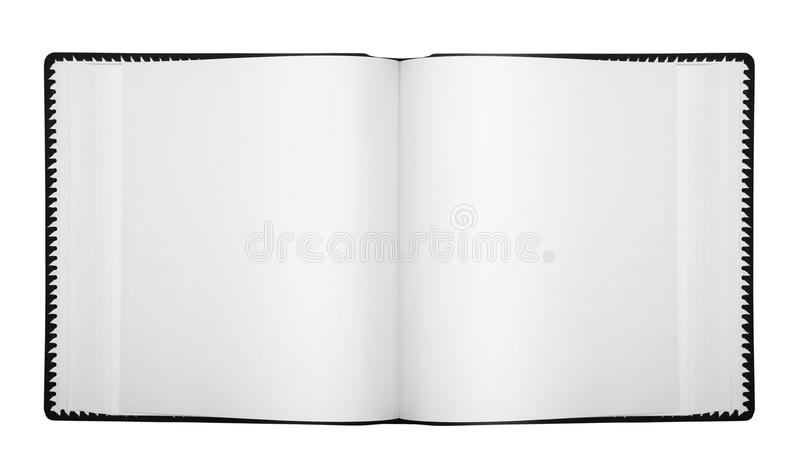 Open album with blank pages. Isolated on white (with clipping patch royalty free stock image