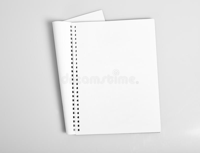 Open album with blank pages. Open album with blank white pages mockup stock images