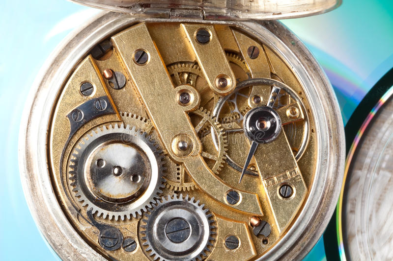 Open antique pocket watch. Closeup of the interior of an antique golden pocket watch stock image