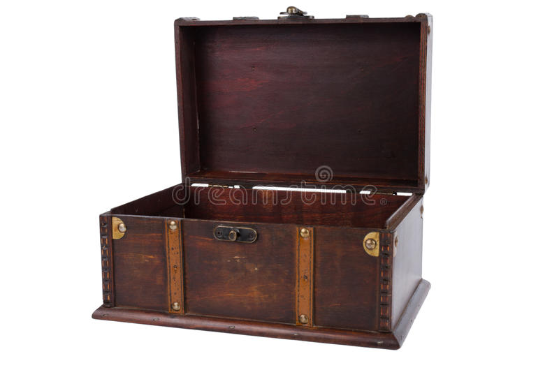 Open antique wooden trunk stock images