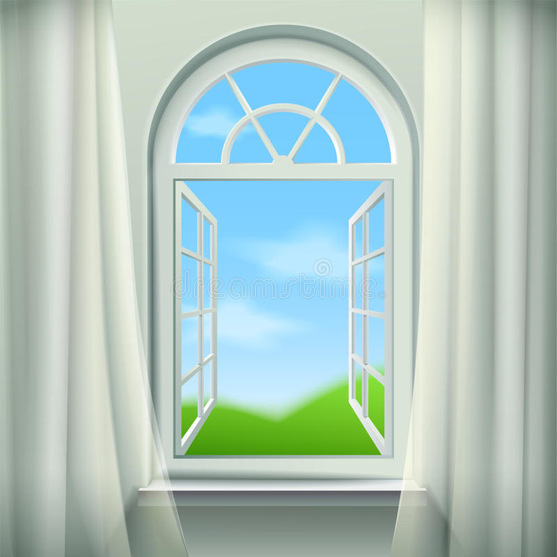 Open Arched Window Illustration. Open Arched Window Background. Open Arched Window Vector Illustration. Open Arched Window Design. Arched Window Realistic royalty free illustration