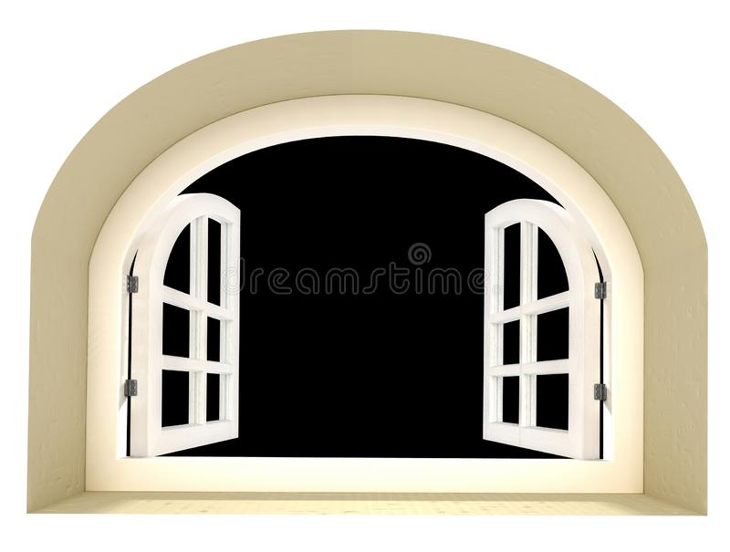 Open arched window isolated on white 3d rendering. Realistic white painted french wood window with hinges stock illustration