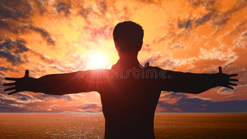 Open arms. Man with the arms open over sunset vector illustration