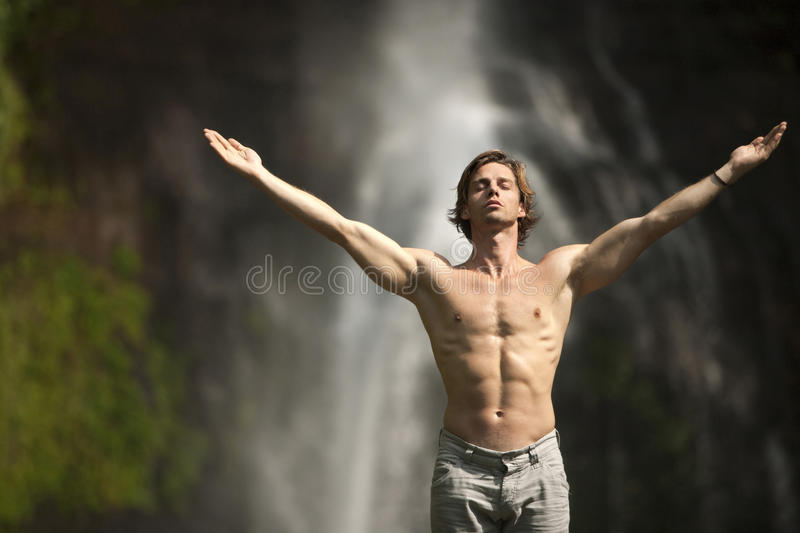Download Open Arms Waterfall stock photo. Image of back, calm - 25327284