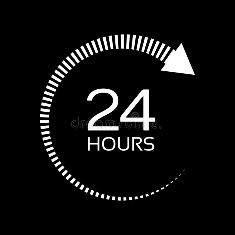 Free Open Around The Clock Serving Clock Arrow Sign. White Sign Isolated On Dark Background. Open 24 Hours A Day Icons. Royalty Free Stock Photo - 131870785
