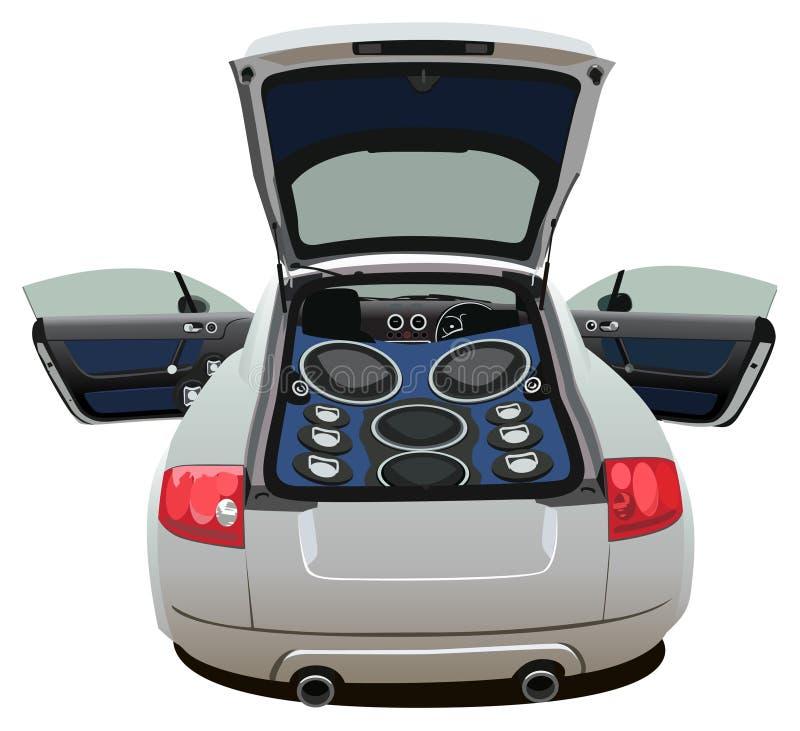 Open auto met grote muziekvector stock illustratie