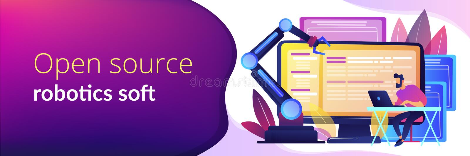 Open automation architecture concept banner header. Open automation architecture, open source robotics soft, free development concept. Header or footer banner royalty free illustration