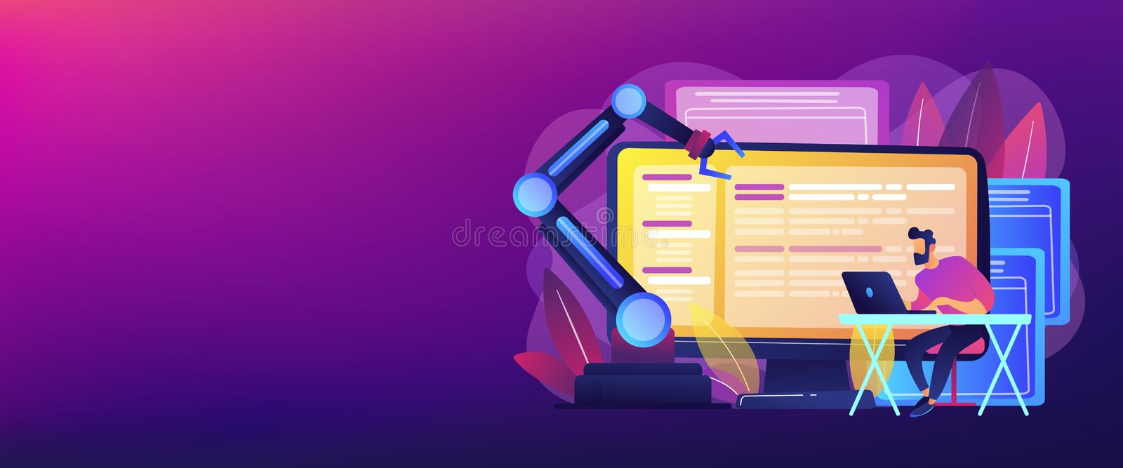 Open automation architecture concept banner header. Open automation architecture, open source robotics soft, free development concept. Header or footer banner vector illustration