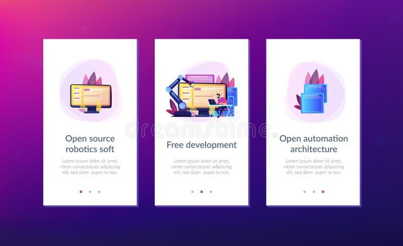 Open automation architecture app interface template. Open automation architecture, open source robotics soft, free development concept. Mobile UI UX GUI vector illustration