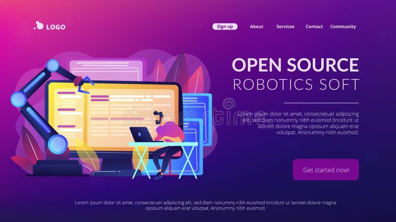 Open automation architecture concept landing page. Open automation architecture, open source robotics soft, free development concept. Website vibrant violet vector illustration