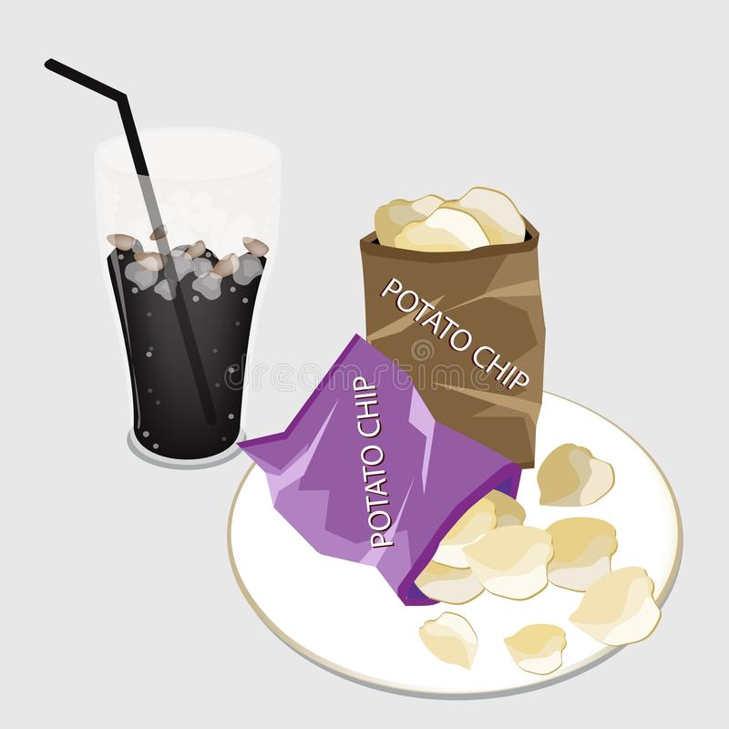Open Bag of Chips with A Delicious Iced Coffee. Snack Food, An Illustration of A Golden Potato Chips in Bag with A Glass of Iced Coffee or Cola royalty free illustration
