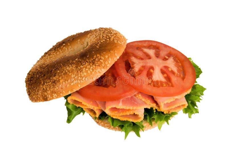 Open Bagel Sandwich royalty free stock image