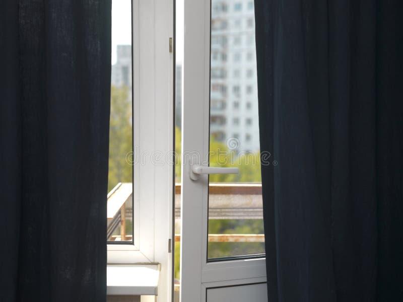 Open balcony door stock image
