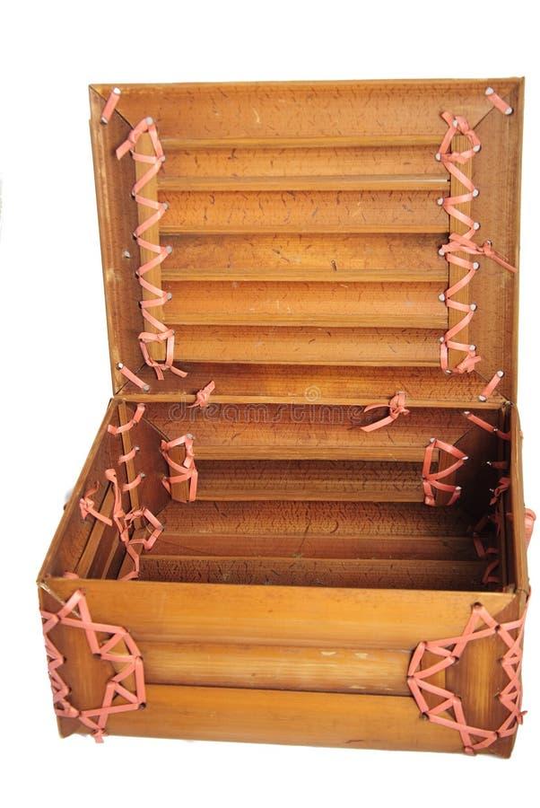Open bamboo box stock photos