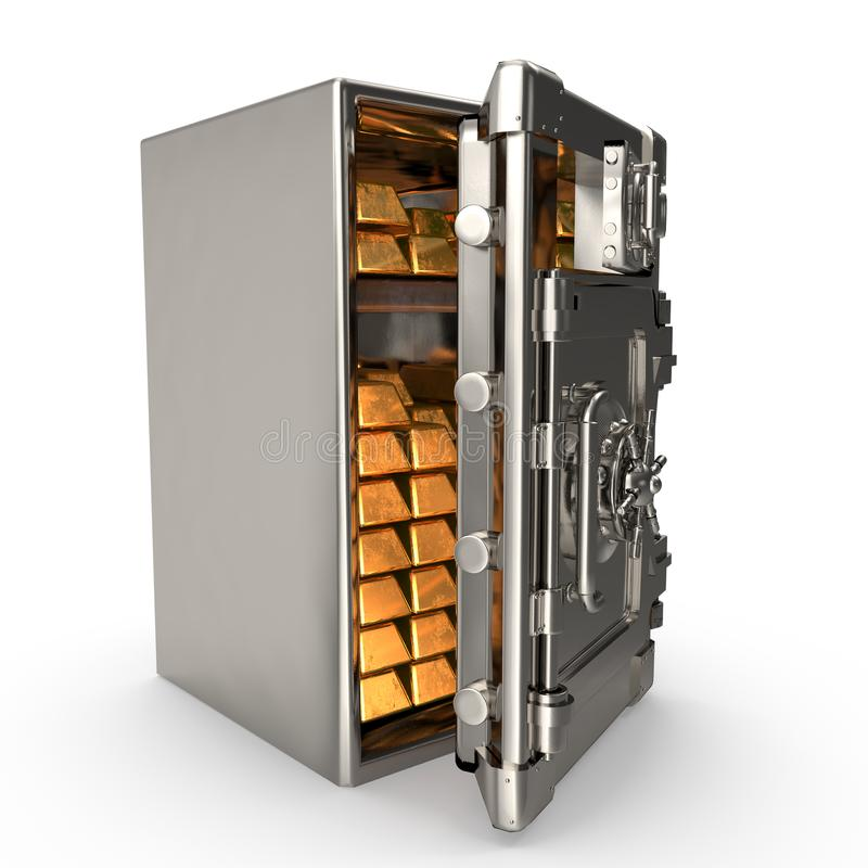 Open bank safe with gold bars on an isolated white background. 3d illustration royalty free illustration