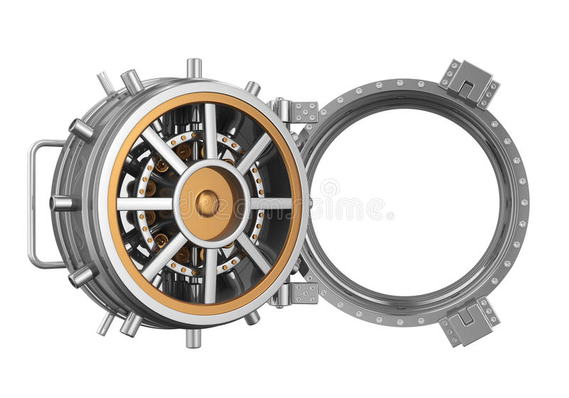 Open Bank Vault Door. Isolated on white background. 3D render royalty free illustration