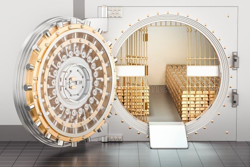 Open Bankkluis met gouden 3D baren, stock illustratie