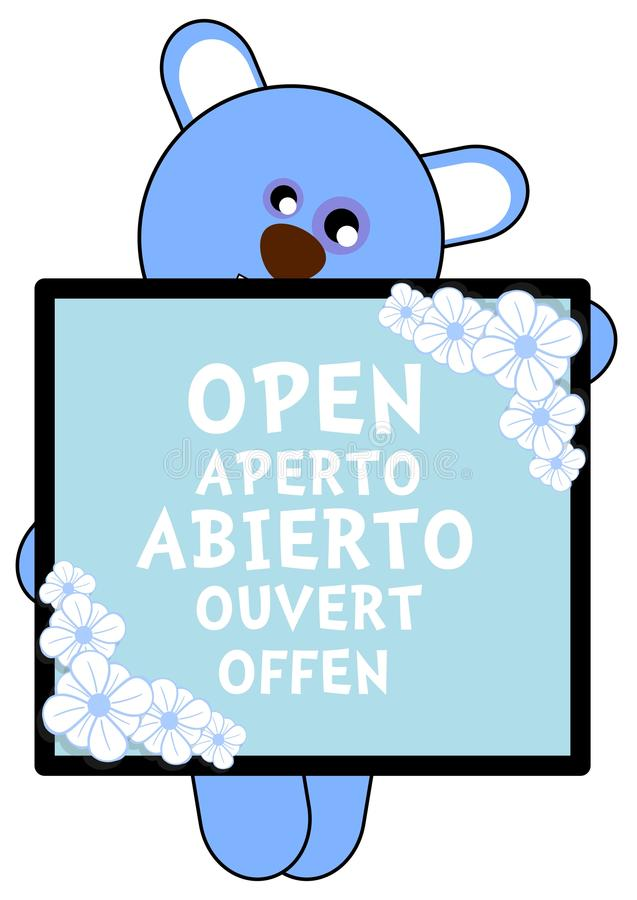 nice bear with open banner isolated vector illustration