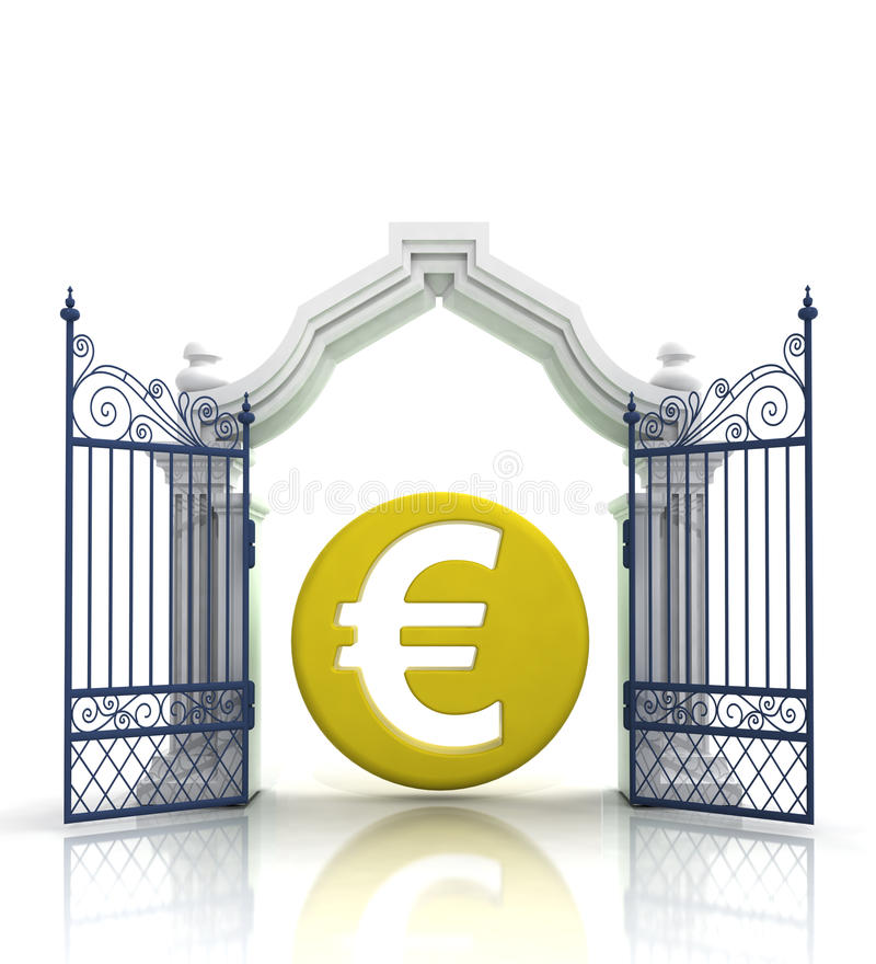 Open baroque gate with euro coin stock illustration
