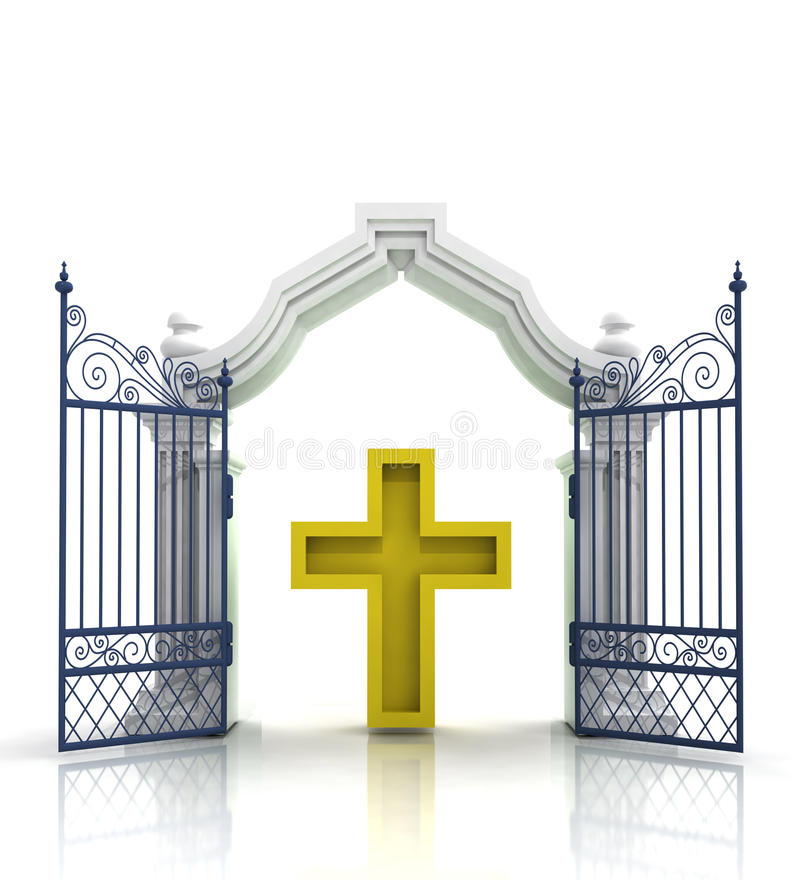 Open baroque gate with golden cross vector illustration