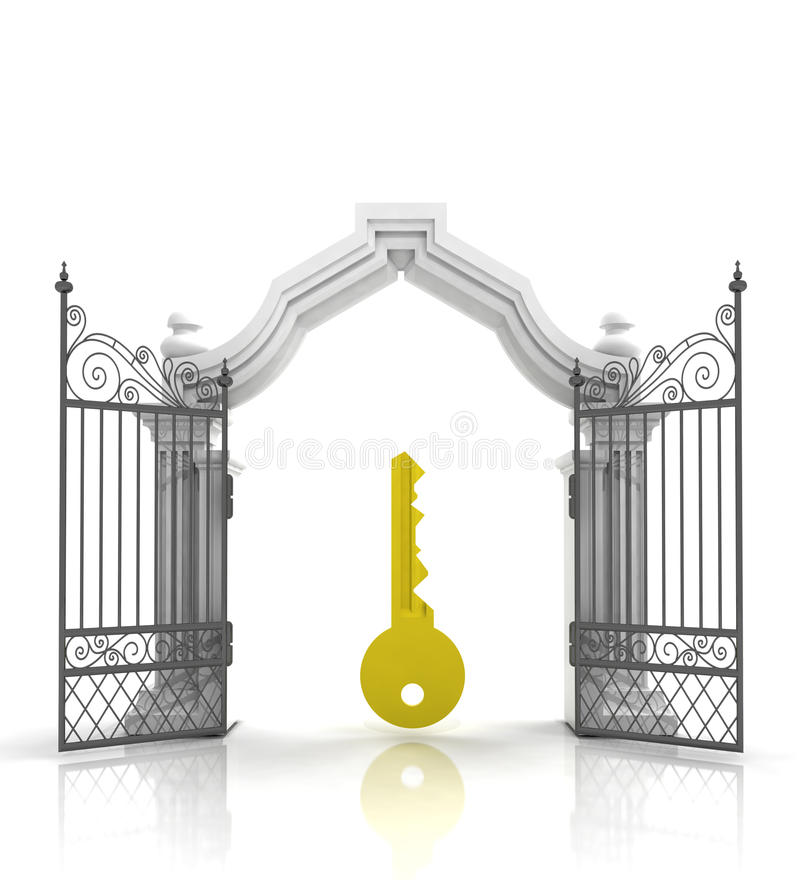 Open baroque gate with golden key stock illustration