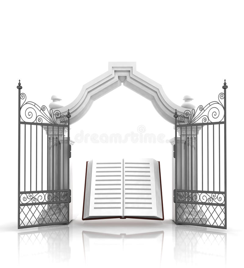 Open baroque gate with holy bible royalty free illustration