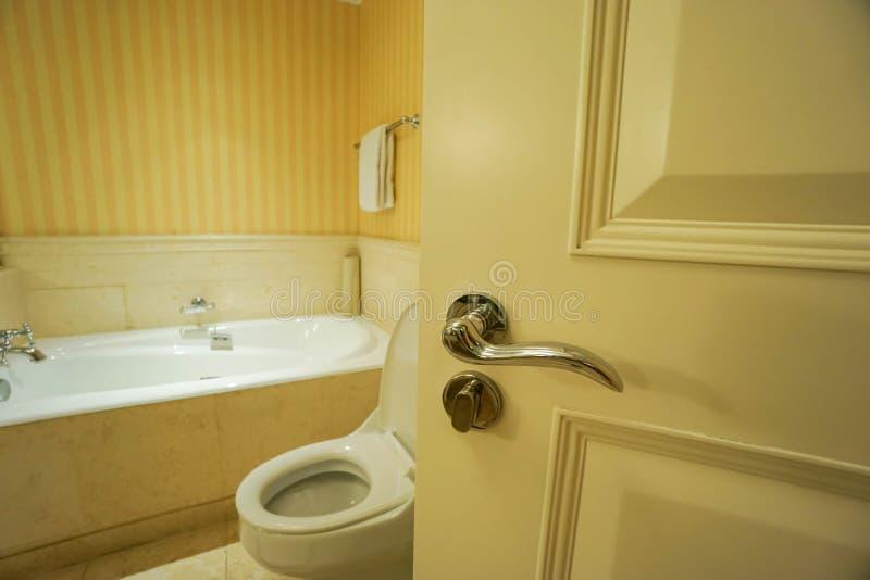 Open the bathroom door stock photos