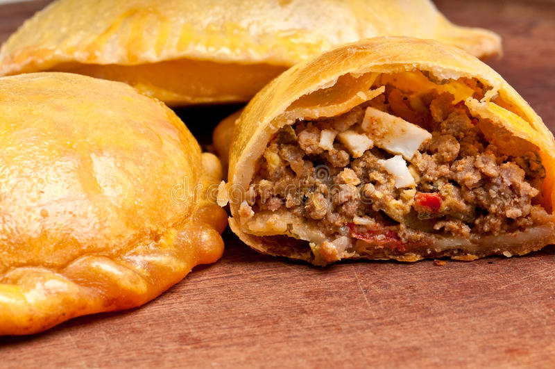 Open beef empanada royalty free stock images