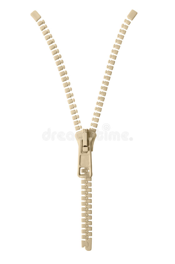 Open beige zipper pull concept unzip metaphor, isolated macro closeup detail, large detailed partially opened half zippered blank. Empty copy space, unzipped royalty free stock photography