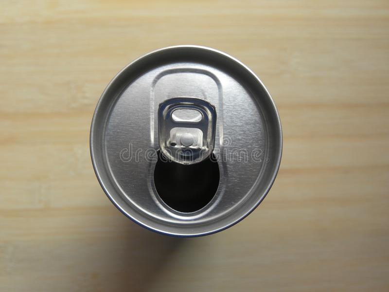 Open beverage drink can with pop tab stock photo