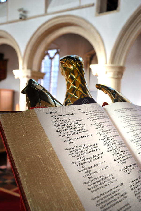 Open Bible. In church pulpit royalty free stock images
