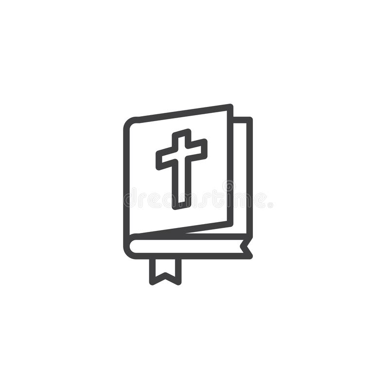Open Bible book outline icon vector illustration