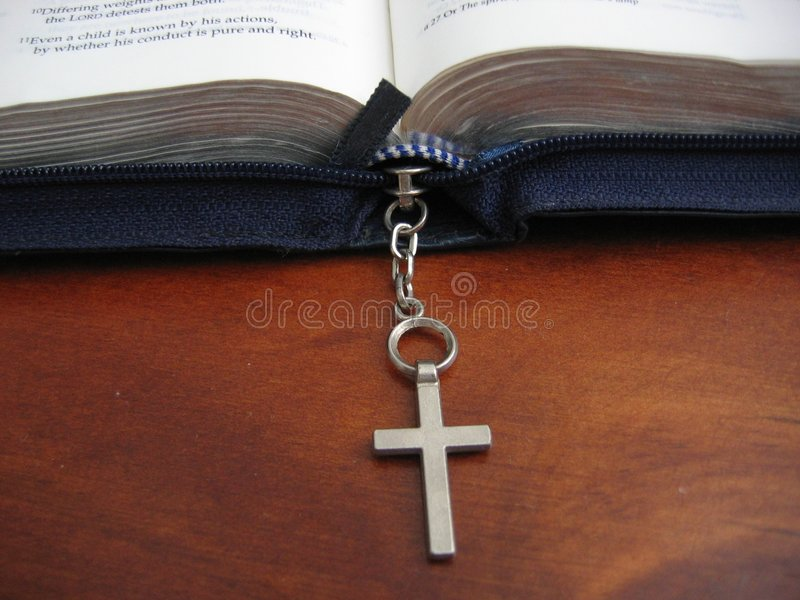 Open bible with cross royalty free stock image