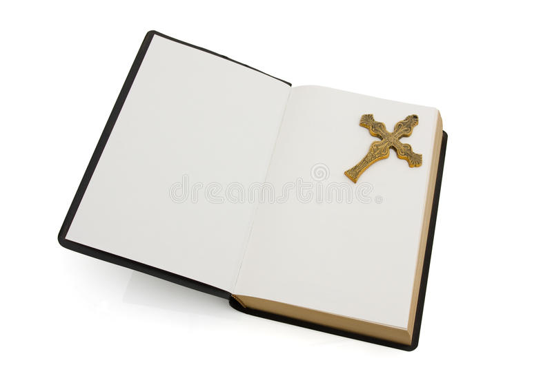 Download Open Bible With A Cross Isolated On White Stock Image - Image: 20381211