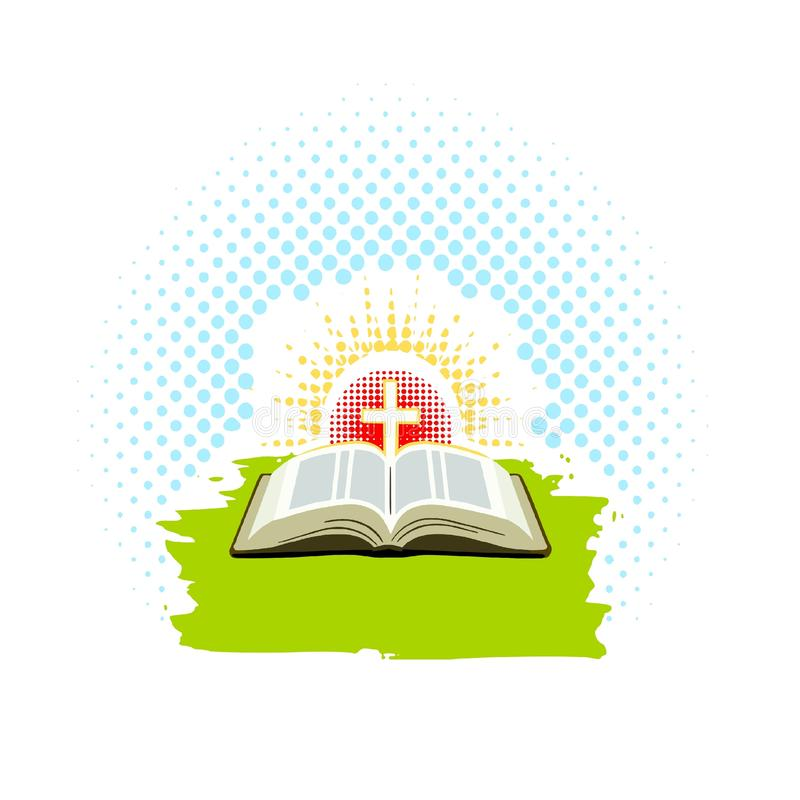 Open Bible with cross and rays of the sun with textured dots royalty free illustration